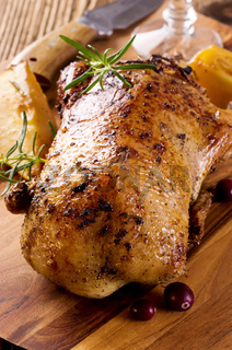 duck roasted on the wooden board