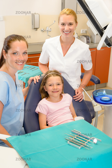Dental team in stomatology clinic with child