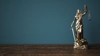 Lady Justice Statue Wooden Table