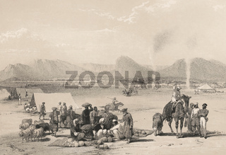 The City of Kandahar, Baba Wali Mountain, First Anglo-Afghan War, sketch by James Atkinson, 1840