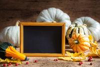 Autumn Pumpkin Decoration, Copy Space, Golden Frame