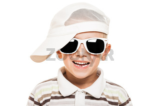 Smiling child boy in sunglasses