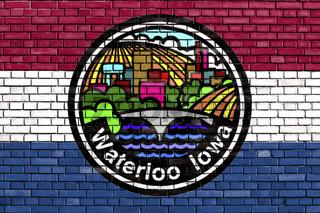 flag of Waterloo, Iowa painted on brick wall