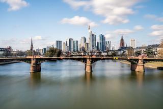 Frankfurt, Germany - March 31, 2020: frankfurt skyline view with