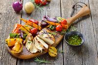 Grilled chicken meat with vegetables