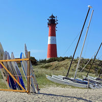 The Lighthouse of Hoernum on Sylt and boats on the beach
