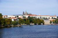 view of the Vltava River and Prague Castle