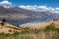 Scenic view of Lake Hawea in New Zealand