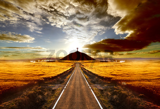 Sunset and travel concept