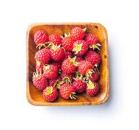 Fresh red raspberries in bowl