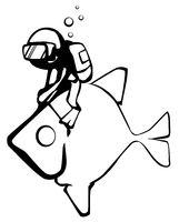 Fish Rider Line Drawing