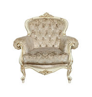 White tufted retro Chesterfield armchair isolated