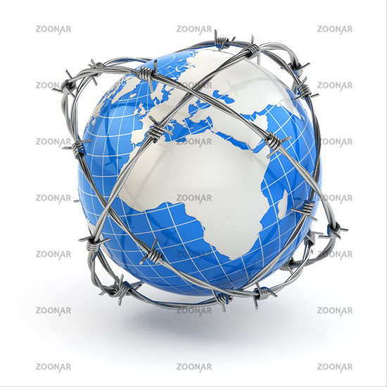 Earth and barbed wire. Conceptual image.