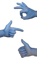 sign language in blue rubber gloves