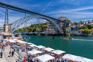 Ribeira Square and Dom Luis I Bridge  in Porto, Portugal