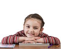 school girl smiling into camera