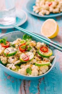 Asian salad with roasted cauliflower