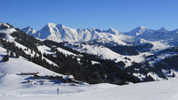 Mountain ranges of the Bernese Oberland in winter. View from Horeflue.