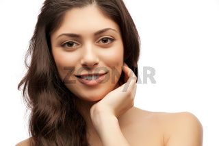 woman with shiny hair studio shot