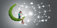 Idea of children Internet communication or online playing and parent control