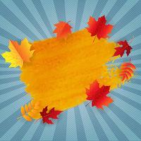 Orange Blot With Autumn Leaves Border