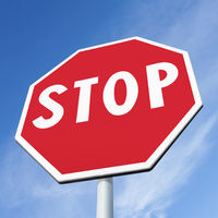 Stop sign on sky