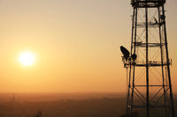 Communication tower at sunset with cityscape
