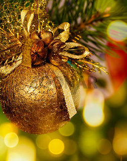 Christmas background with baubles and beauty bokeh