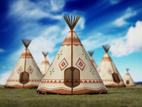 Indian tents on grass field against blue sky. 3D illustration