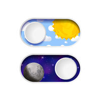 On and Off day and night toggle switch buttons on white