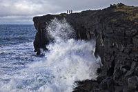 Roaring sea surf on the black lava coast, near Skardsvik, Snæfellsnes, West Iceland, Iceland, Europe