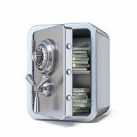 Unlocked steel safe with money inside 3D