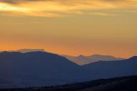 Scenic mountain landscape at sunrise
