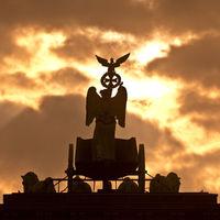 Quadriga on the Brandenburg Gate in the dawn, Berlin, Germany, Europe
