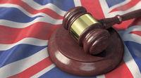 Supreme Court - Judge's gavel lies on the UK flag