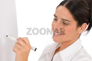 Happy businesswoman writing at empty flip chart