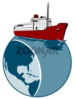 Passenger Cargo Ship on Top of Globe