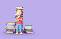 Puzzled Young Kid with Stacks of Books on Purple with Copy Space 3D Illustration