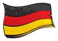 Painted Germany flag waving in wind