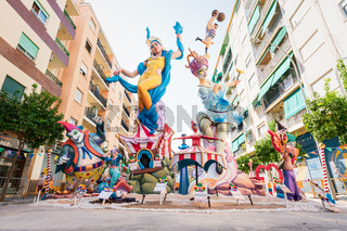 Large paper mache figurines with the topic Circus for fallas event in the streets of Gandia, Spain