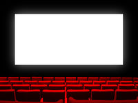 Cinema movie theatre with red seats and a blank white screen