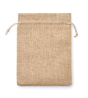 Front view of empty burlap drawstring gift bag