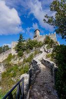 the Rocca della Guaita Castle on top of the mountain in the capital of San Marino