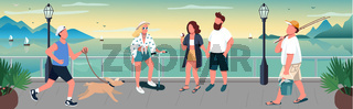 People walking on quay flat color vector illustration
