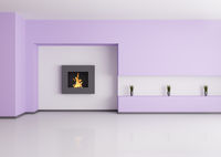 Emty interior with fireplace 3d render
