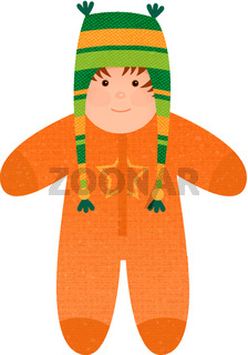 Cute small baby in warm Winter Overall.