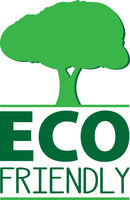 green ECO FRIENDLY logo or label with tree symbol