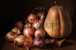 onions in a cloth bag and pumpkin