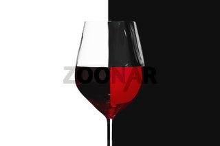 red wine wineglass light refraction