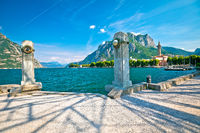Town of Lecco on Como Lake waterfront and church view